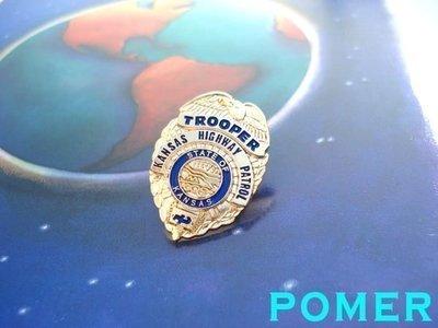 TROOPER KANSAS HIGHWAY PATROL 美國堪薩斯州高速公路巡警 金色警徽造型紀念金屬別針胸針徽章