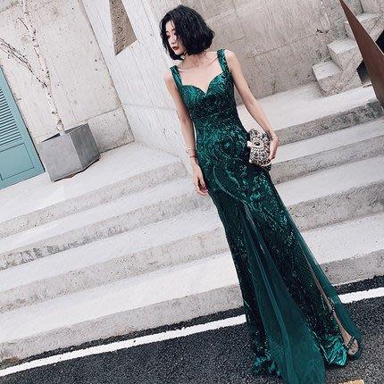 妞妞 婚紗禮服~綠色性感魚尾修身顯瘦名媛主持人新娘敬酒長禮服~3件免郵