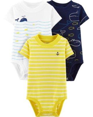 ♡NaNa Baby♡ 美國Carter's 短袖包屁衣三件組 - 小鯨魚