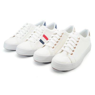 ❤含運 ❤鞋念 美人館 MIT亮麗白皙綁帶運動休閒鞋-白金色/白藍色-36-40碼 (8266-03)