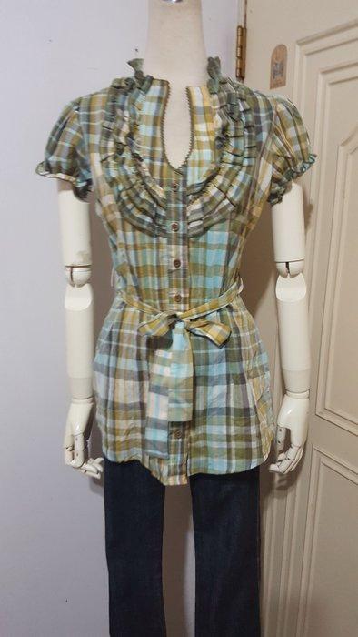 美國max rave品牌綠系格紋層次荷葉滾前襟腰綁帶棉質公主袖襯衫S號(適S~M)*250元直購價*