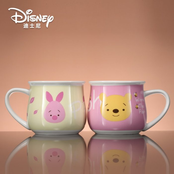 迪士尼陶瓷杯 帶蓋帶勺水杯可愛兒童卡通杯子 小熊維尼正品馬克杯滄水家飾