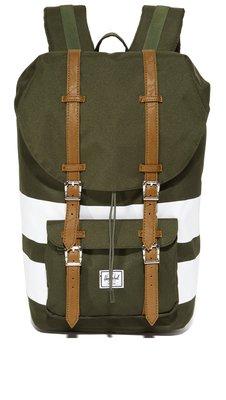 現貨 Herschel Little America 大型 軍綠 白色 條紋 皮革帶子 筆電層 大容量 後背包