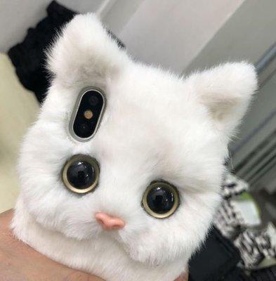 【黑店】手工訂製款 可愛毛茸茸白貓手機殼 超可愛iphone手機殼軟殼 貓妖手機殼 日系軟妹手機殼