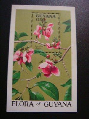 【大三元】美洲郵票-蓋亞那-G30a各國動植物專題小全張-花-新票小全張-原膠