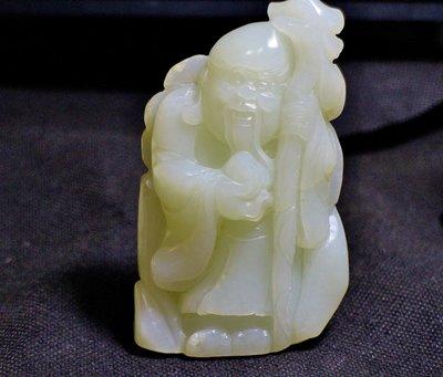 諸羅山人~~~民初231公克 拍品級新疆玉龍喀什河 羊脂白玉雕 擺把件 壽翁 高9.7公分