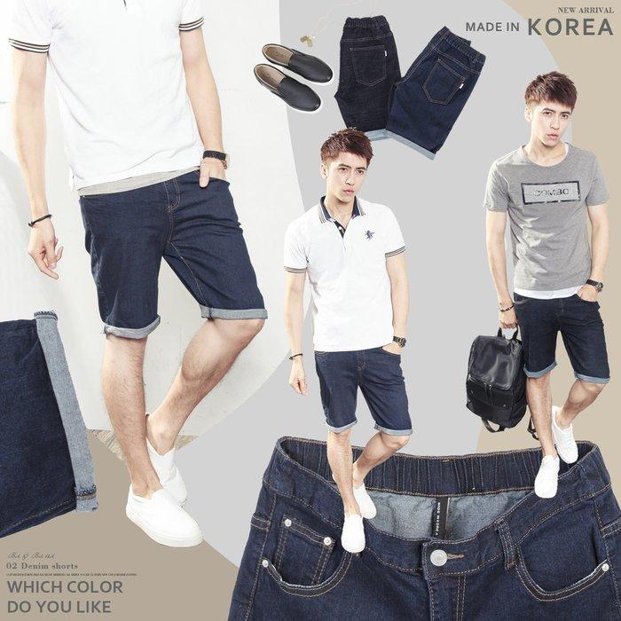 。SW。【K91523】正韓PE 韓國製 修身 觸感舒適 深藍/牛仔藍 超彈力單寧布 褲頭後鬆緊帶 彈性牛仔短褲 GD