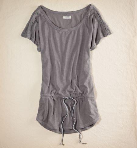 AMERICAN EAGLE_女裝_Aerie Button Sleeve Tunic 鈕釦袖抽繩上衣現貨L號