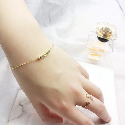 Lissom韓國代購~e 家懶人925銀手鍊女金色正韓個性細巧正韓珠珠手腕飾品閨蜜禮物