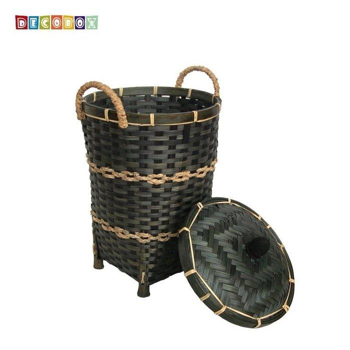 DecoBox日式鄉村風竹編有蓋小收納桶-墨綠色(垃圾桶.紙簍,污衣籃.收納籃.玩具籃)