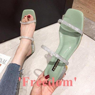 Freedom~女鞋涼拖鞋女2019新款正韓時尚水鉆透明拖鞋仙女風低跟女式鞋透氣防滑