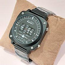 CLICK飛機儀表板黑色不鏽鋼手錶/滾輪時分顯示/獨特創意設計/個性盡顯