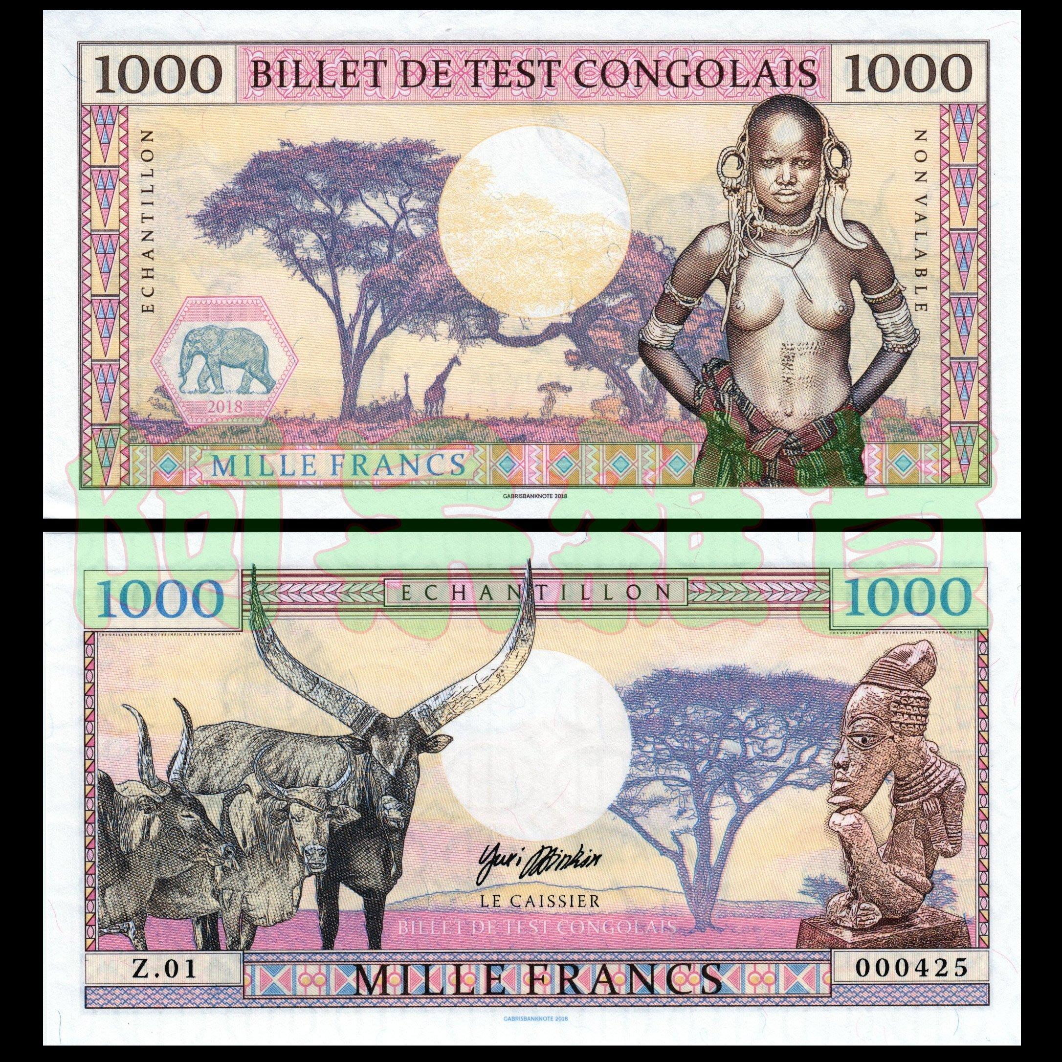 森羅本舖 現貨實拍 剛果 1000法郎 測試鈔 滿版水印 裸女 2018年 鈔票 全新 大象 長頸鹿 收藏 真鈔 非洲