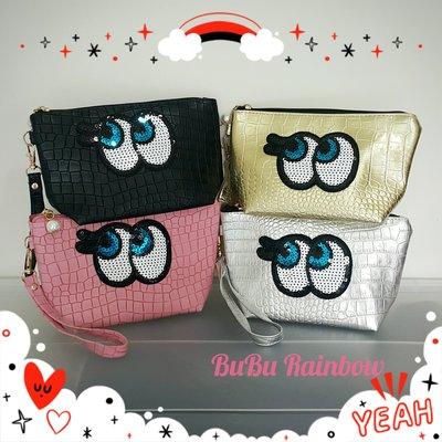 韓國亮片大眼睛手拿包(4色) 化妝包 萬用包 少女包 筆袋 收納包 手提包~♥BuBu彩虹小舖♥
