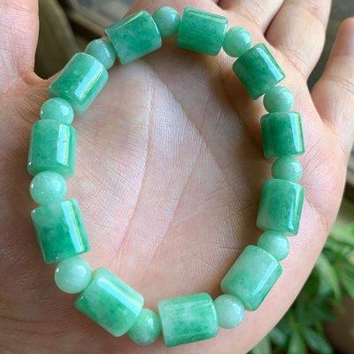 翡翠A貨~10.4MM果陽綠桶珠手珠~手串~手鏈~手珠~直購