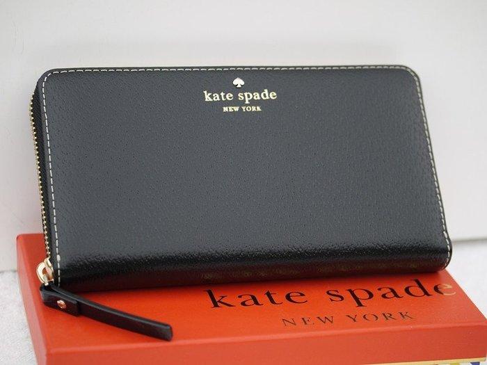 笑笑專屬® Kate Spade GRAND STREET NEDA 黑色爪紋牛皮拉鍊錢包 長夾  現貨!
