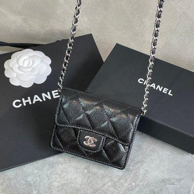 【GO時尚國際精品】Chanel CC card Holder  AP1730 荔枝牛皮鏈卡包 / 小廢包