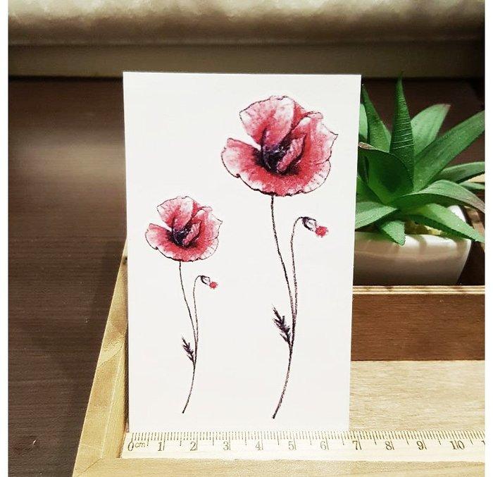 【萌古屋】L系列單支紅色花朵 - 男女防水韓風簡約紋身貼紙刺青貼紙K31