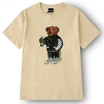 美國 小熊 BEAR 潮流 短袖T 嘻哈 饒舌 HIP HOP RAP 黑色 卡其色 駝色 尺寸:S~3XL