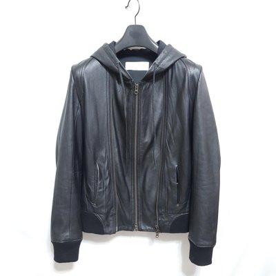 【型男逸品】日本品牌SENSUAL FMH 型男高質感窄版柔軟羊皮連帽運動皮衣 真皮