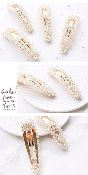 【Love Trina】9106-0116。人氣款珍珠三角劈啪夾(9CM)。髮夾。髮飾(1色)