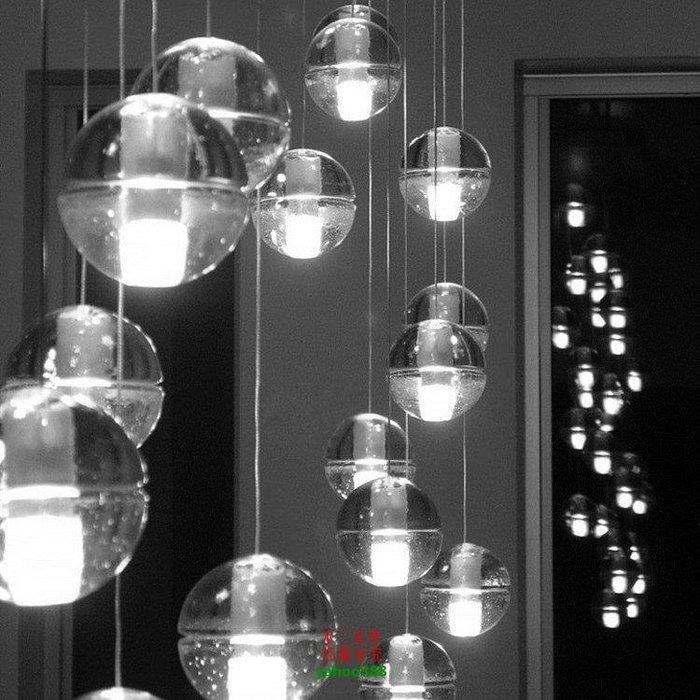 【美學】led水晶玻璃球流星雨冰雹別墅樓梯會所玄關吊燈(小號)MX_1422