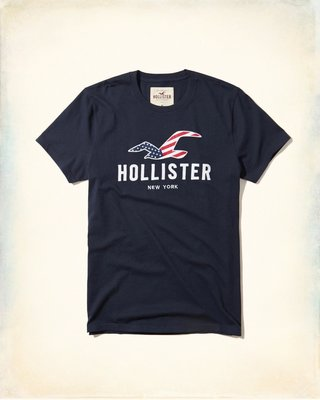 Hollister Logo Graphic 藏青色 刺繡貼布短袖T恤  Abercrombie & Fitch A&F