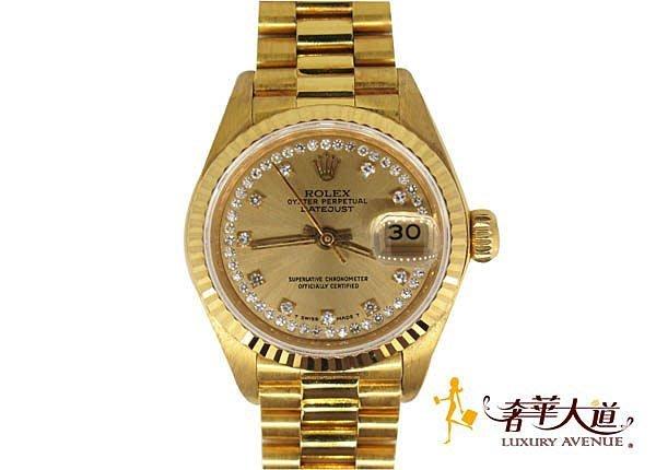 *奢華大道國際精品*【W0367】ROLEX 18黃K 69178 原鑲10鑽 鑽圈全紅女錶
