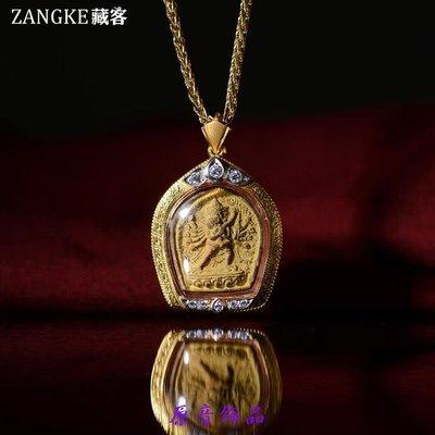 Freedom原音飾品W〓藏客〓西藏藏傳勝樂金剛老擦擦 純金鑲寶石嘎烏盒 老佛像
