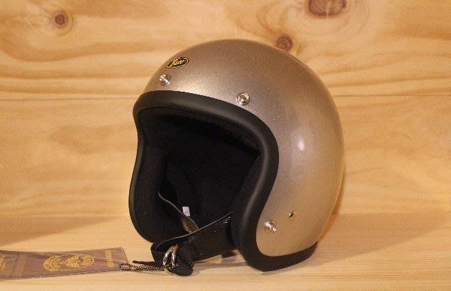 (I LOVE樂多)BUCO METALELAKE 銀色4/3復古安全帽(史上最悠久經典的安全帽品牌)
