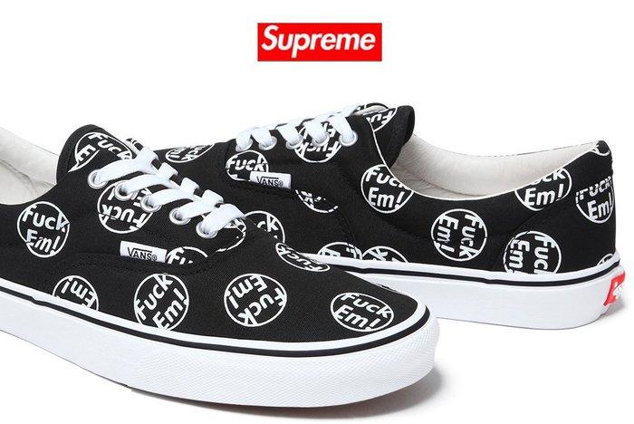 【超搶手】2014 S/S 限量聯名鞋 Supreme X Vans Fuck Em Era 滿版 低筒 黑色 8 9