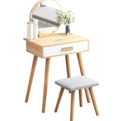 (訂貨價:$388up)北歐化妝枱+凳 (50cm寬)加窄鏡櫃 櫃桶梳妝台+實木腳 化妝鏡 Make-Up Mirror Desk