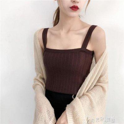 吊帶背心女夏內搭短款性感修身針織打底衫外穿無袖上衣潮
