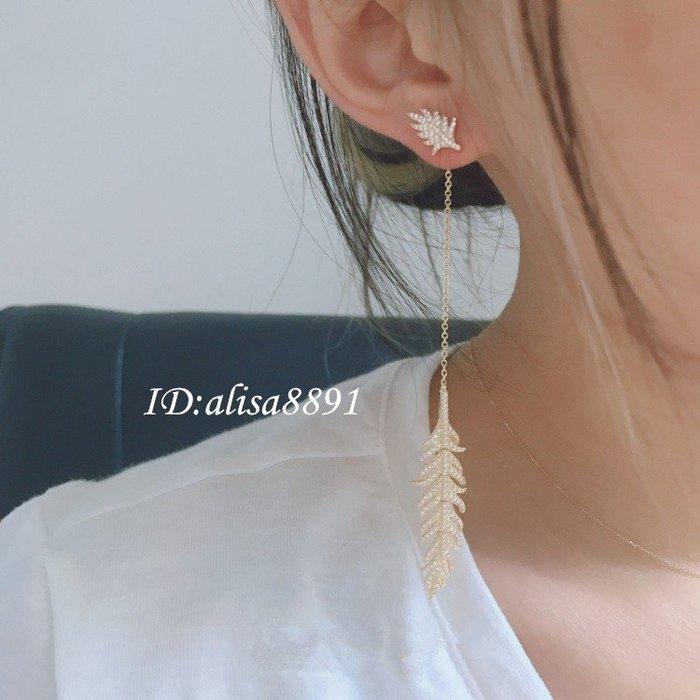 apm MONACO羽毛長款金黃色耳環 S925純銀鑲晶鑽耳環耳釘 情人節禮物 線條耳環 穿洞式女生耳墜