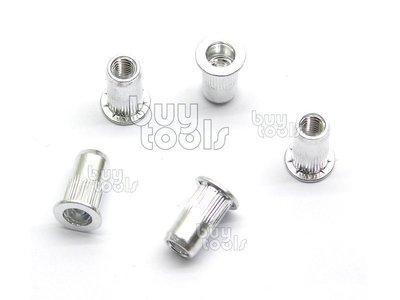 台灣工具-INSERT NUT SERIES 高品質鋁拉帽-5mm、歐盟標準、M5*圓型*大唇*壓花、每顆售價「含稅」