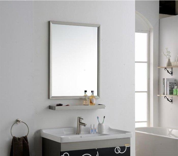 浴室鏡子 浴室鏡 鏡子 壁掛墻帶置物架衛生洗手廁所間化妝臉簡易方形打孔