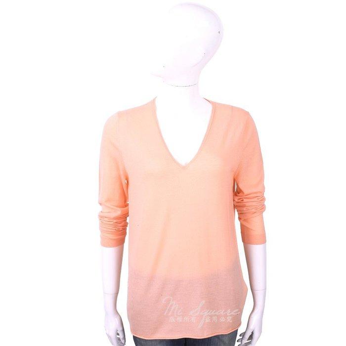 米蘭廣場 ALLUDE 100%羊毛粉橘色V領針織羊毛衫 1740253-39