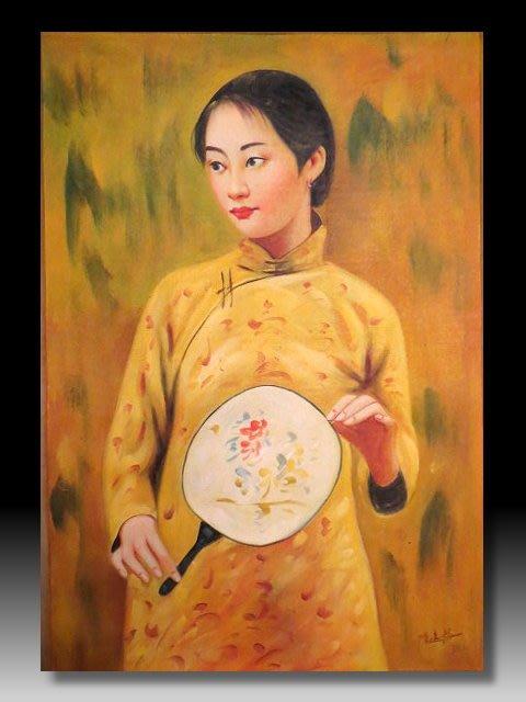 【 金王記拍寶網 】U1187  中國近代油畫名家  陳逸飛款 手繪油畫原作 油畫一張 罕見 稀少 藝術無價~