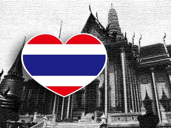 【衝浪小胖】泰國旗抗UV、防水愛心形登機箱貼紙/Thailand/各國都有販賣和客製