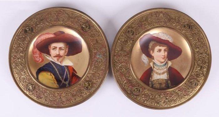 (已售)【家與收藏】特價頂極珍藏歐洲19世紀百年古董名瓷新文藝復興風格優雅貴族人物手繪瓷盤