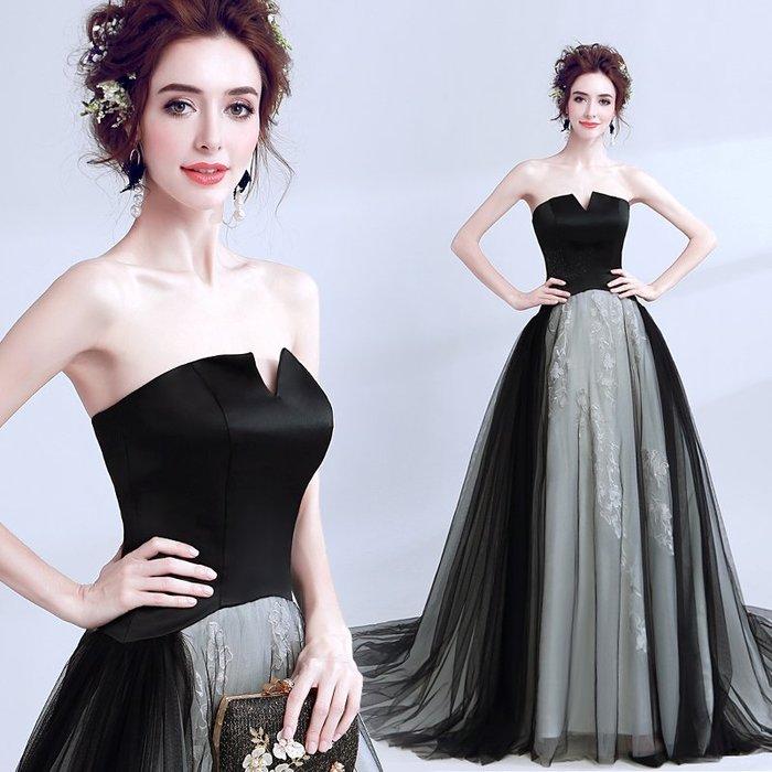女王範兒 黑色抹胸超仙漸變色婚紗晚宴年會車展禮服 長洋裝—莎芭
