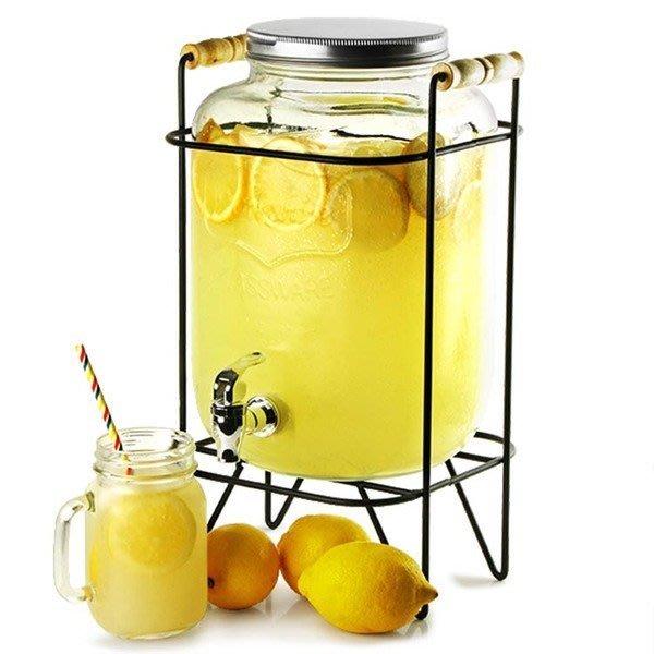 【奇滿來】不鏽鋼龍頭 8L果汁罐+提把金屬支架 Mason梅森罐 玻璃瓶 飲料桶 冰桶 飲料桶 果汁桶 啤酒桶 ADKL