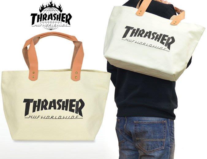 【超搶手】 全新正品 美牌 聯名 HUF x THRASHER CANVAS TOTE 硬帆布 手提肩背托特包 米白色