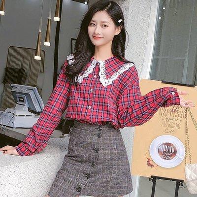 日韓服飾*免運費商品*格紋寬鬆棉質襯衫...
