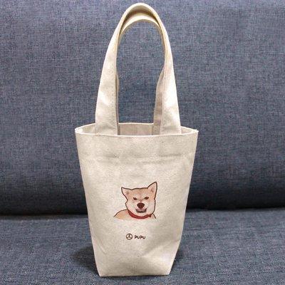《柴犬-兇兇》文創柴犬 台灣製棉麻布 吸水 環保飲料杯套 提袋 環保袋 飲料袋 環保杯袋  / 蒼蠅星球 / 手創市集