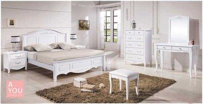 卡蘿歐風白色6尺雙人床台 (免運費)促銷價$15800【阿玉的家2018】