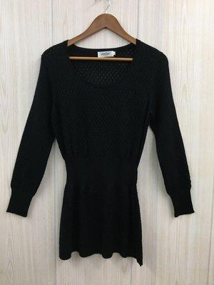 【愛莎&嵐】Aimilan愛蜜蘭 女 黑色羊毛縮腰針織長袖洋裝 / L (有伸縮) 1080303