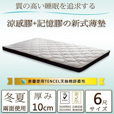 床墊【UHO】Kailisi卡莉絲名床-複合式6尺雙人雙線涼感記憶薄墊 免運費
