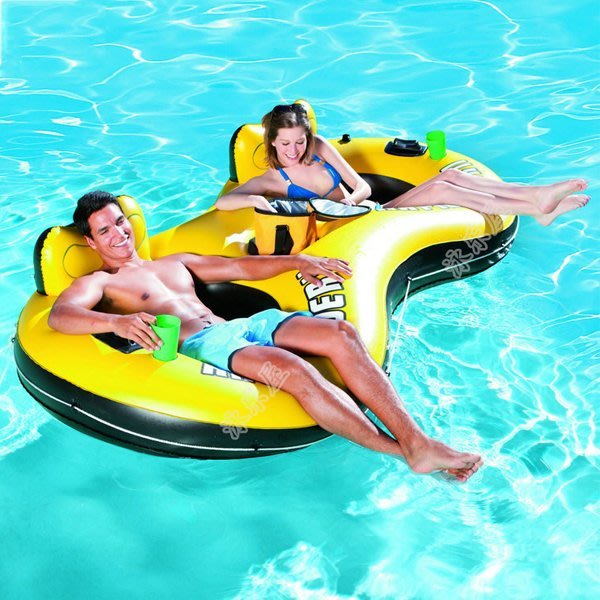 5Cgo【批發】含稅會員有優惠 45044996478 豪華靠背充氣游泳池雙人充氣浮床充氣床漂流氣墊浮排充氣椅子水上沙發