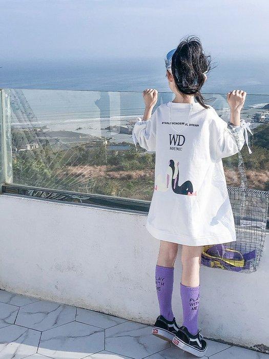 女童长款卫衣春装2019新款童装中大童韩版洋气上衣儿童宽松卫衣裙